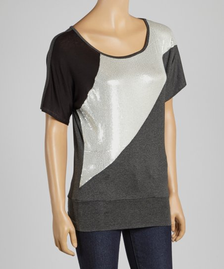 Black & Silver Sequin Stripe Top