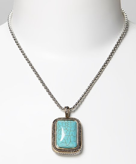 Turquoise & Two-Tone Braided Rectangular Pendant Necklace