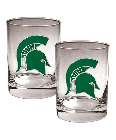 Michigan State Spartans Rocks 14-Oz. Glass – Set of Two