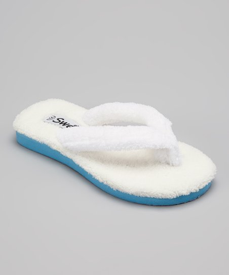 White & Blue Plush Flip-Flop