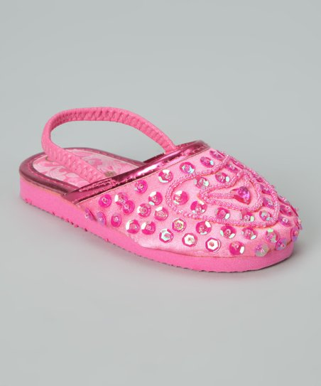Hot Pink Beaded Heart Slipper