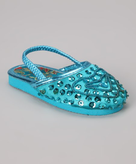 Royal Blue Beaded Heart Slipper