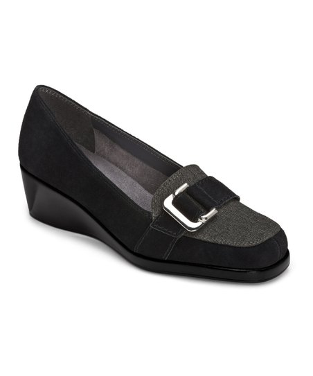 Black & Gray Suede Temptress Loafer