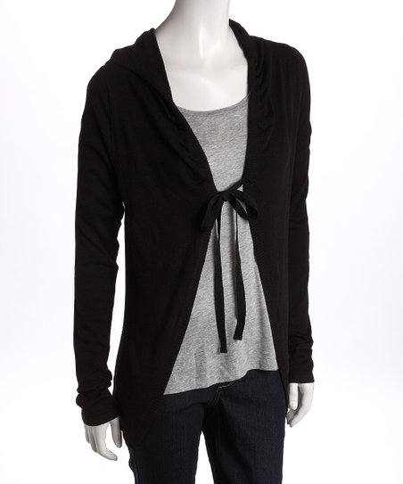 Black Tie-Front Hooded Cardigan