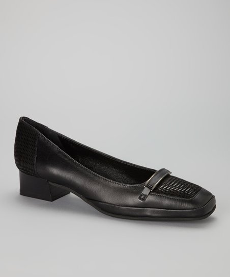 Black Leather Messico Pump