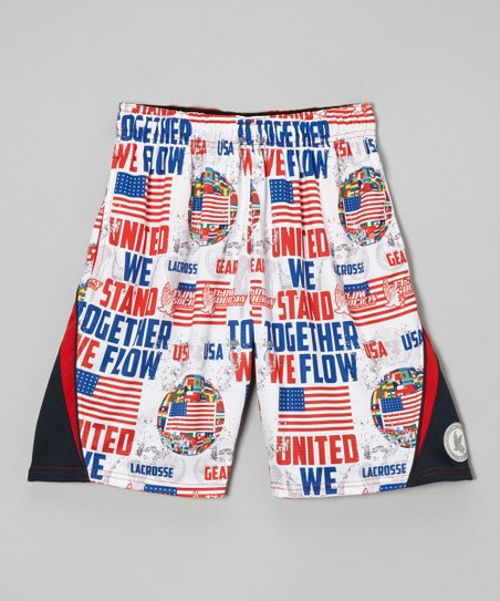 White 'United We Flow' Shorts - Kids