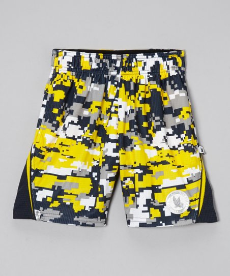 Navy & Yellow Digicamo Shorts - Boys