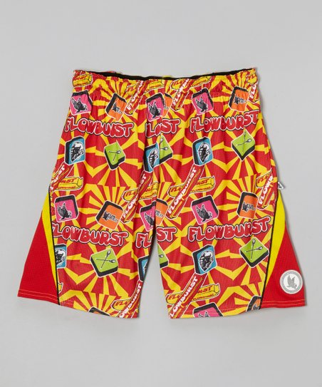 Red 'Flowburst' Lacrosse Shorts - Kids