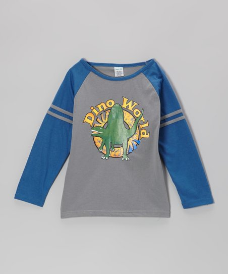 Blue 'Dino World' Raglan Tee - Boys