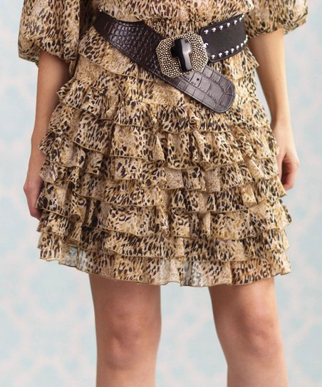Tan Leopard Claire Tiered Skirt - Women