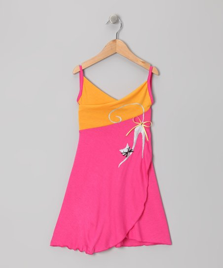 Hot Pink & Yellow Cat Wrap Dress - Toddler & Girls