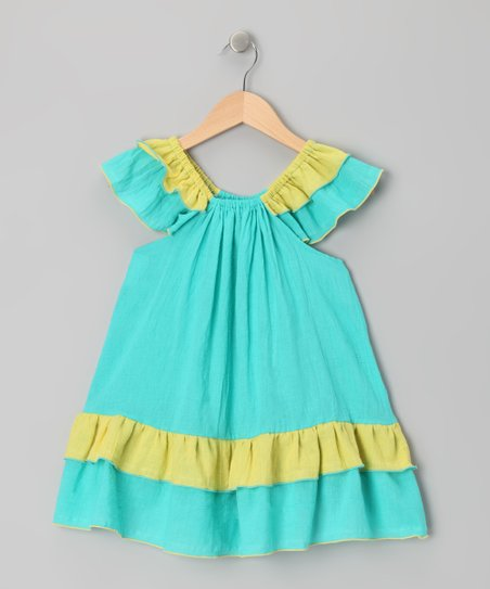 Blue & Yellow Tiered Ruffle Dress - Toddler & Girls