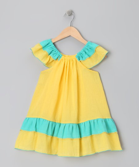 Yellow & Blue Tiered Ruffle Dress - Toddler & Girls