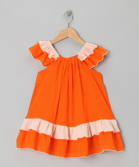 Orange & White Tiered Ruffle Dress - Toddler & Girls