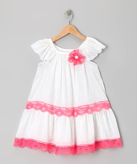 White &amp; Fuchsia Lace Dress - Toddler &amp; Girls