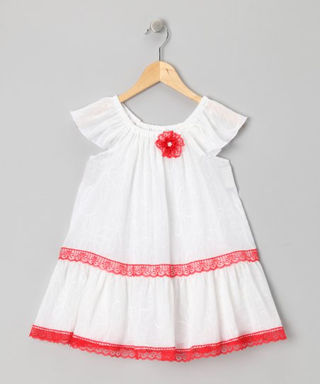 Red & White Lace Dress - Toddler & Girls