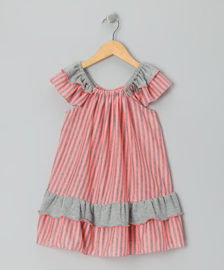 Red & Gray Stripe Dress - Toddler & Girls