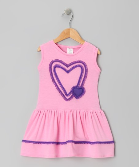 Pink & Purple Double Heart Dress - Toddler & Girls