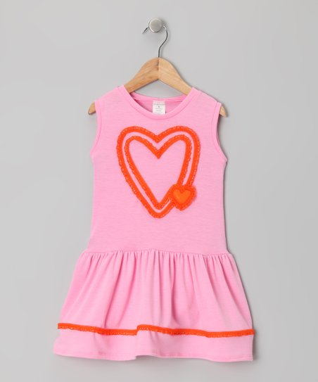 Pink & Red Double Heart Dress - Girls