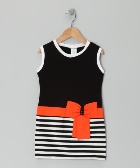 Black & Red Stripe Bow Dress - Toddler & Girls
