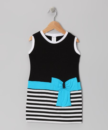 Black & Blue Stripe Bow Dressss - Toddler & Girls