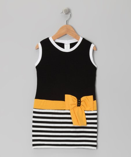 Black &amp; Yellow Stripe Bow Dress - Toddler &amp; Girls