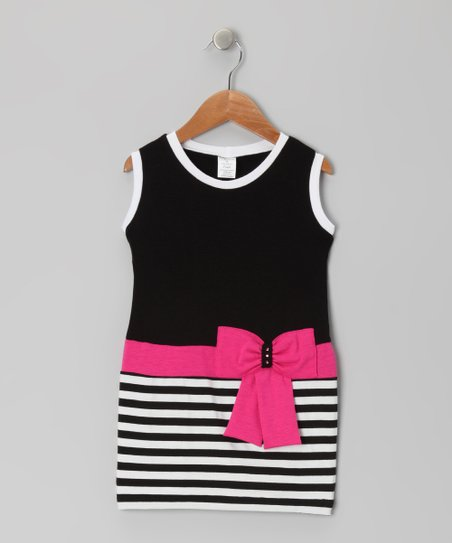 Black & Fuchsia Stripe Bow Dress - Toddler & Girls