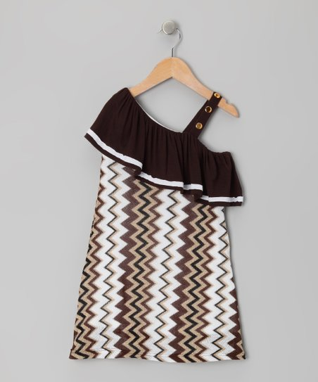Black & Brown Chevron Dress - Toddler & Girls