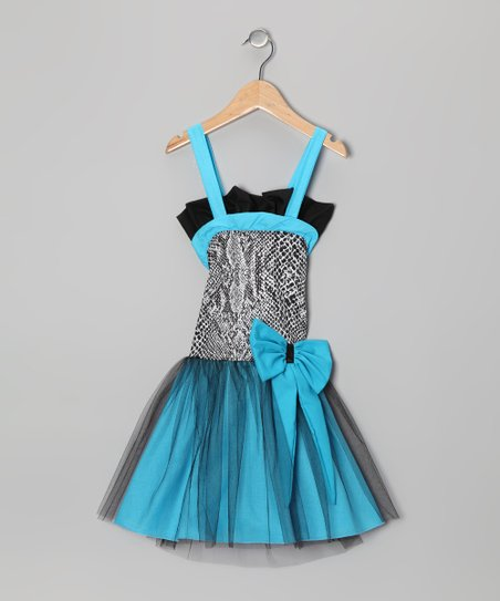 Blue & Black Tulle Dress - Toddler & Girls