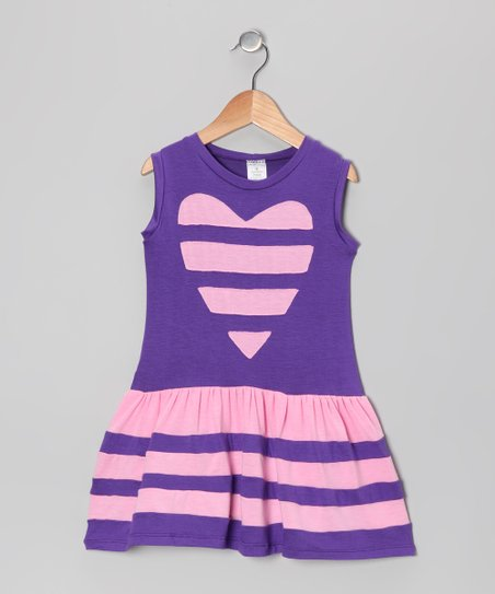 Blue & Pink Stripe Heart Dress - Toddler & Girls