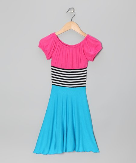 Pink & Blue Stripe Color Block Dress - Toddler & Girls