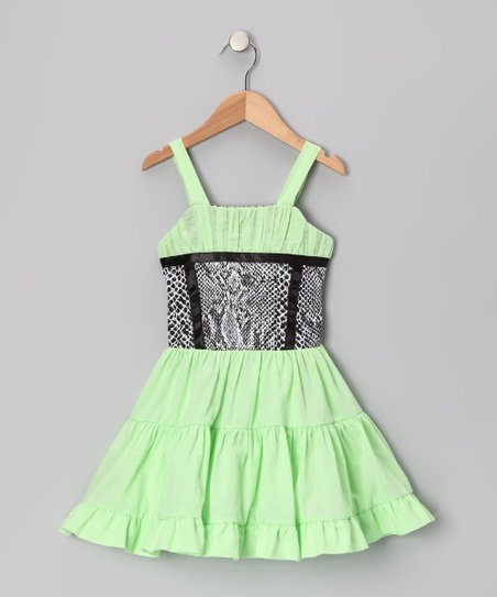 Green & Black Ruffle Dress - Toddler & Girls