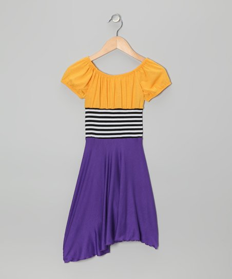 Purple & Yellow Color Block Dress - Toddler & Girls