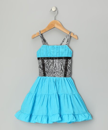 Blue & Black Ruffle Dress - Toddler & Girls
