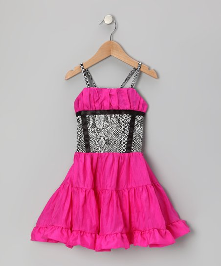 Hot Pink &amp; Black Ruffle Dress - Toddler &amp; Girls