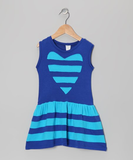 Blue Baby & Blue Heart Stripe Dress - Toddler & Girls