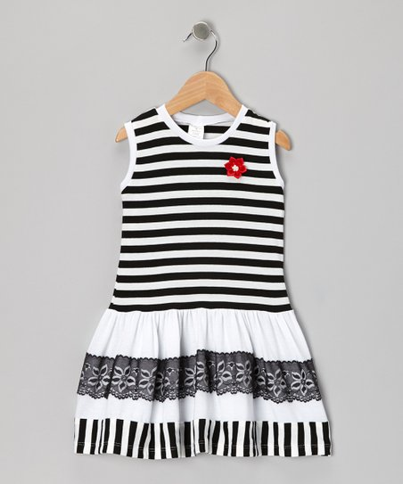 Black & White Lace Stripe Dress - Toddler & Girls
