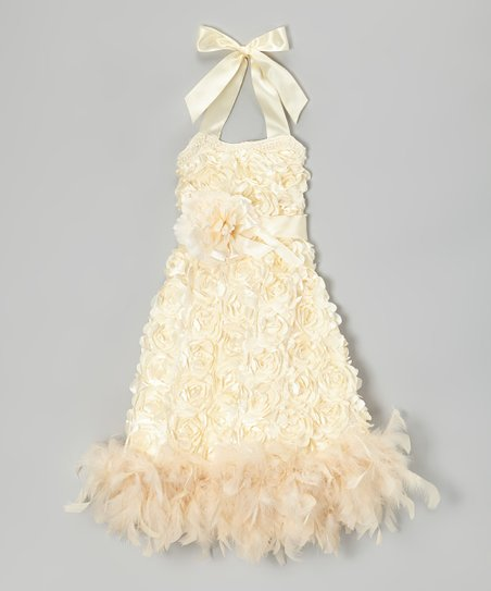 Cream Hydrangea Boa Dress - Infant, Toddler & Girls