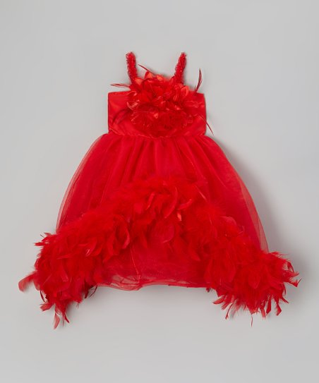 Red Flower Boa Dress - Infant, Toddler & Girls