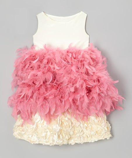 Cream & Pink Hydrangea Feather Dress - Infant, Toddler & Girls