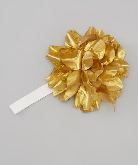 White & Gold Flower Headband