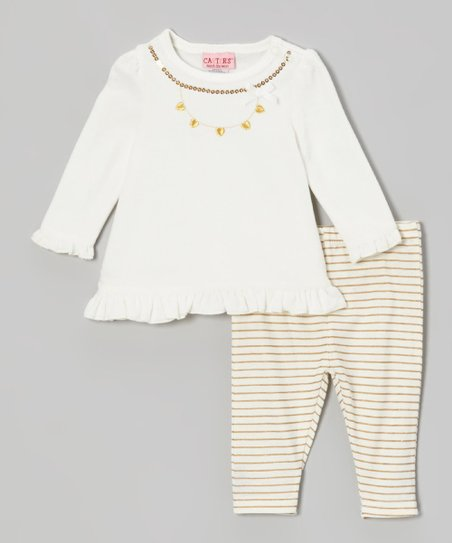 Cream Velour Tunic & Stripe Leggings - Infant