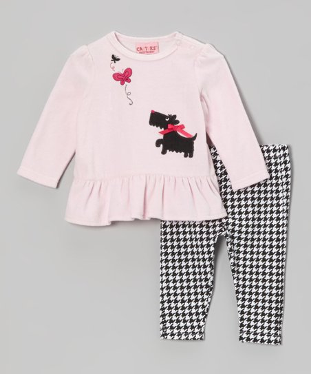 Pink Velour Tunic & Houndstooth Leggings - Infant