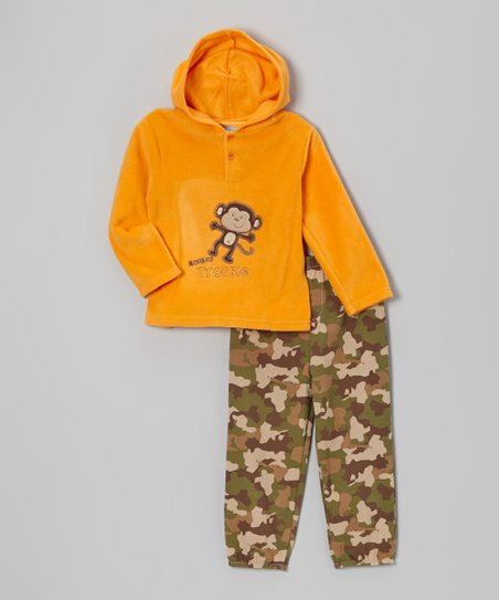 Orange Monkey Fleece Hoodie & Camo Pants - Infant & Toddler