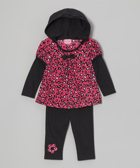 Black Leopard Hooded Tunic & Fleece Leggings - Infant & Toddler