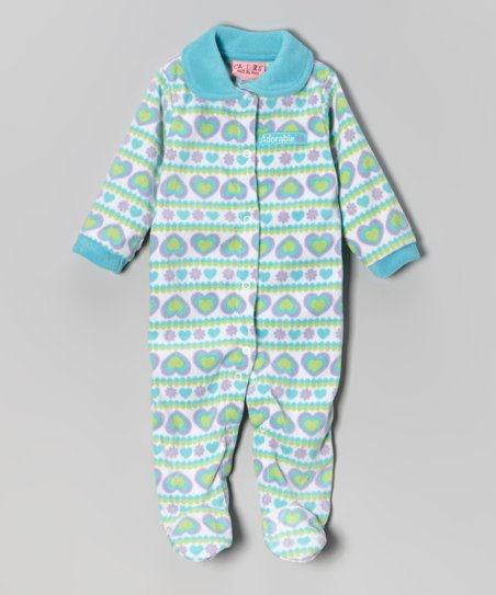Teal Hearts Polar Fleece Footie - Infant