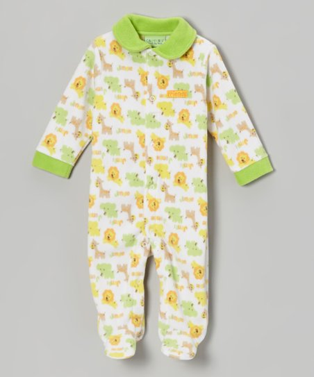 Green Animals Polar Fleece Footie - Infant