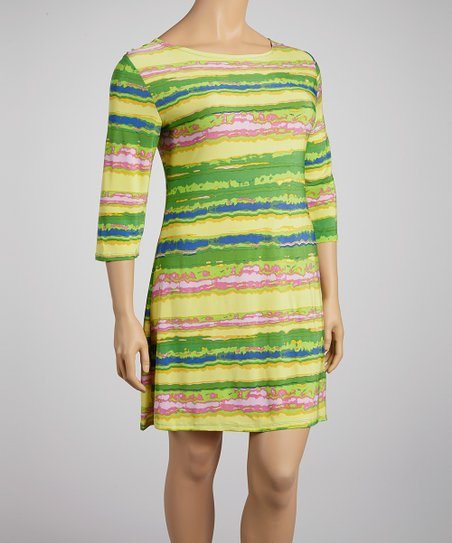 Green & Blue Dye Stripe Shift Dress - Plus