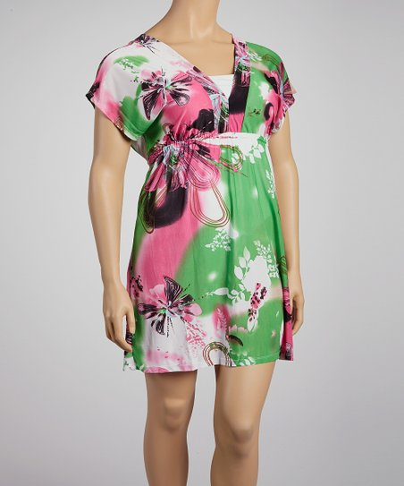 Green Butterfly Surplice Dress - Plus