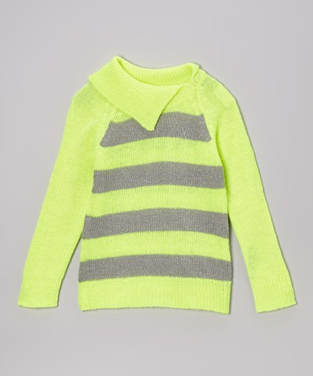 Yellow Stripe Split-Neck Sweater - Toddler & Girls
